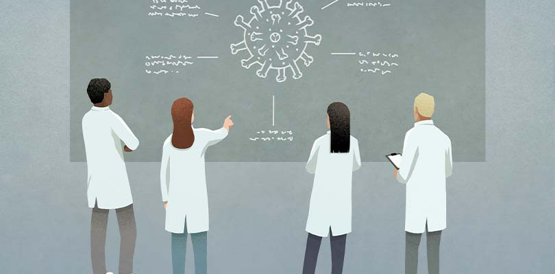 An illustration of four doctors examining a molecule on a board.
